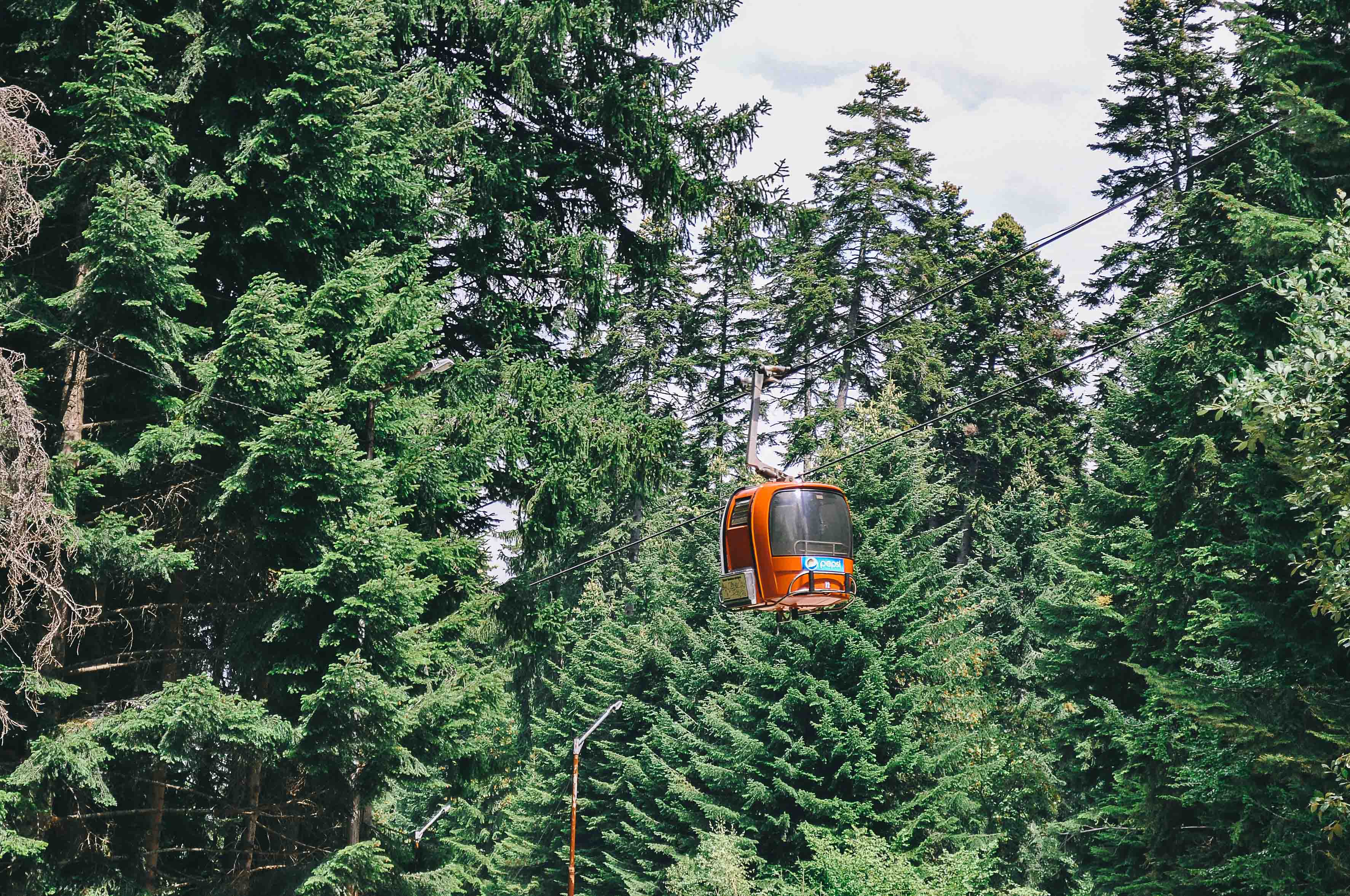 Mountain lift is flying over virgin forest