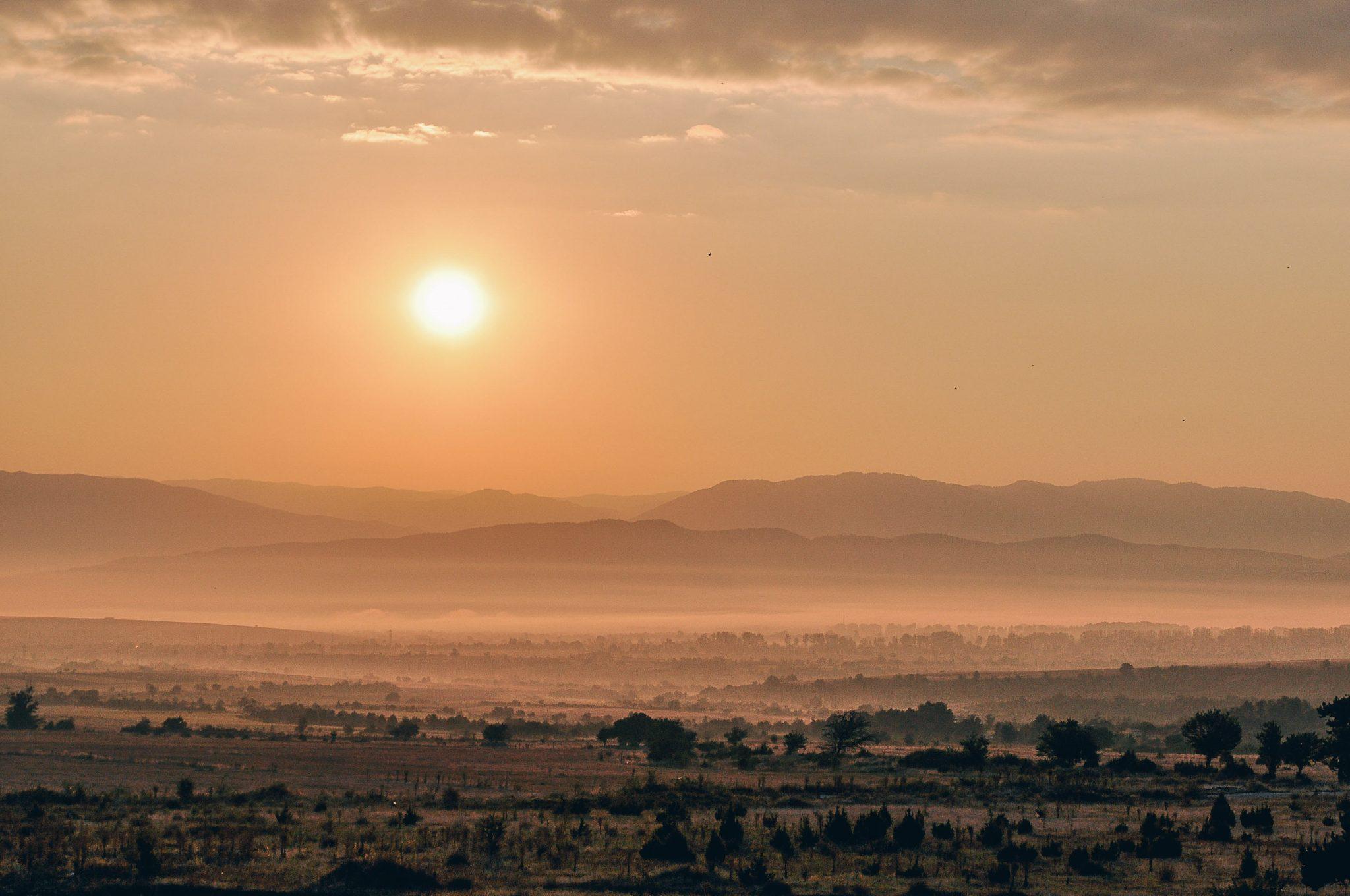 Rural sunset bearing the inspiring views