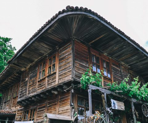 Traditional Bulgarian wooden house surrounded by incredible virgin nature