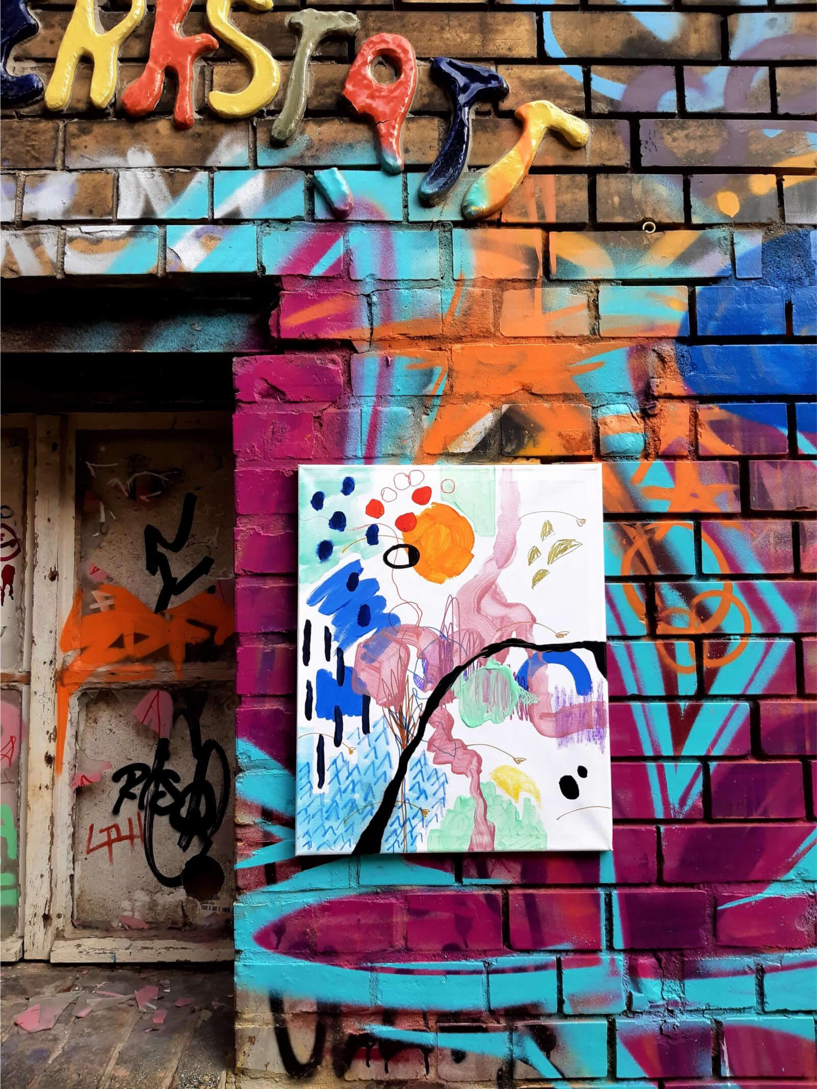 "the _unseen, ""Daylight Constellations, Seven Sisters""Revaler Straße, BerlinAcrylic, oil pastel, felt marker, varnish on gesso primed canvas 60cm x 50cm"