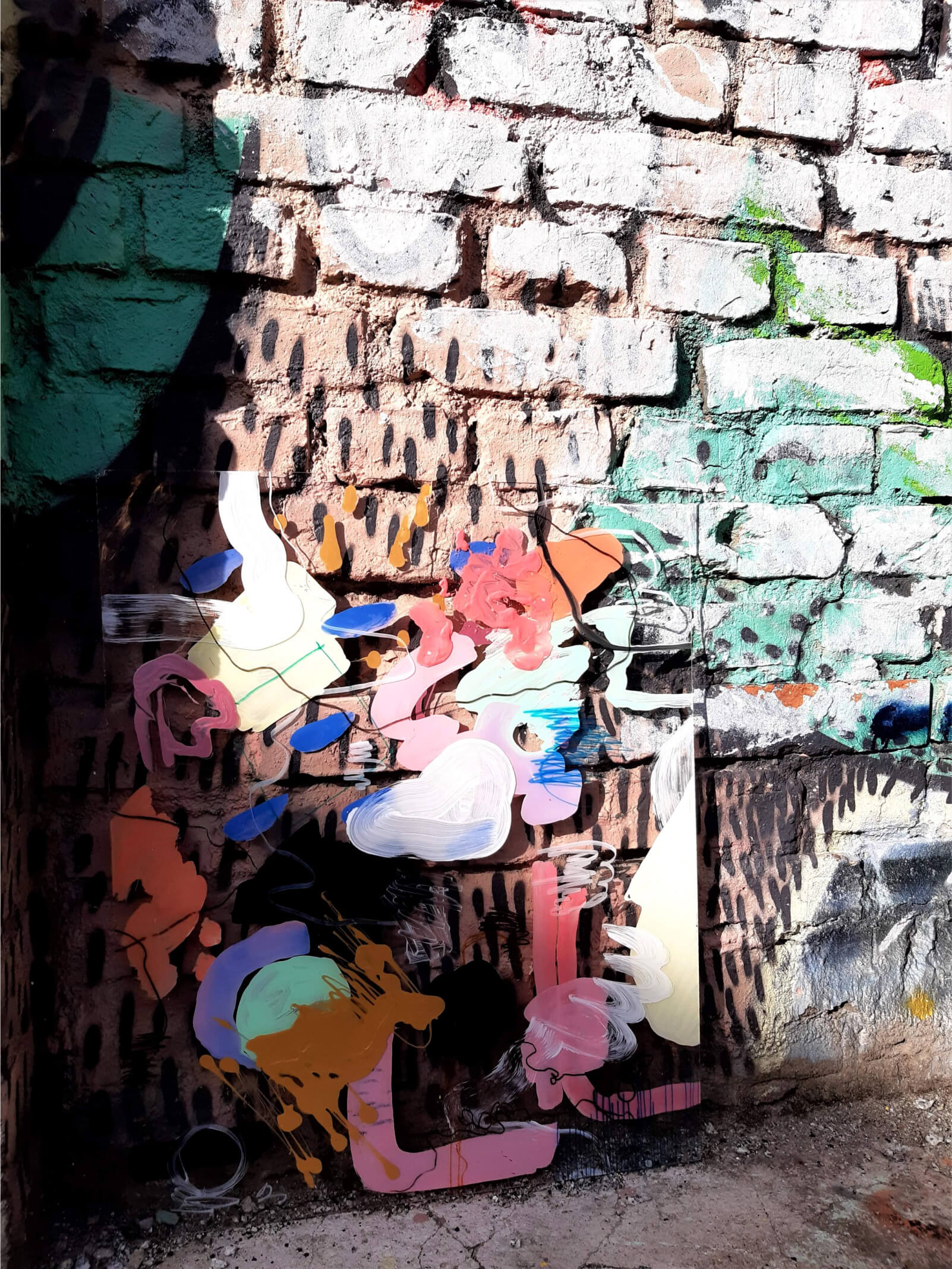 "the _unseen, ""Daylight Constellations, Passing Nebula""Revaler Straße, BerlinAcrylic, felt marker on plexiglas 60cm x 55cm"